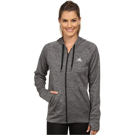 adidas Team Issue Fleece Full-Zip Hoodie Women's Sweatshirt, Gray ($43) ❤ liked on Polyvore featuring activewear, activewear tops, grey, logo sportswear, adidas activewear, adidas y adidas sportswear