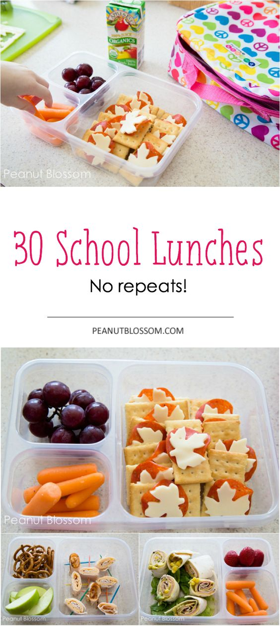 30 Days of school lunches, no repeats!! Easy tips and tricks for packing a lunch for an entire 30 days. Fantastic inspiration.