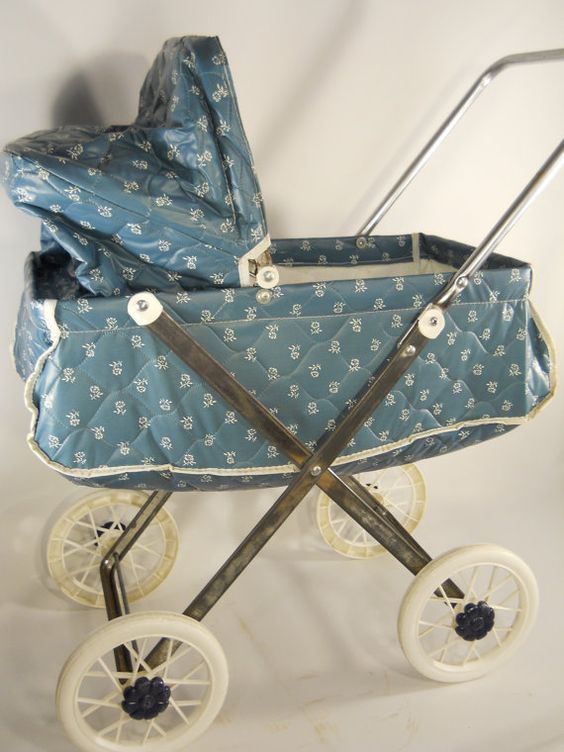 SALE  Vintage Blue Baby Doll Carriage Stroller by ArchieFantastics, $60.00