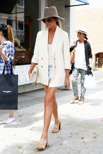 spring / summer - street style - street chic style - summer outfits - beach outfits - casual outfits - white blazer + grey fedora + nude mule sandals + white shoulder bag + white tank top + light raw hem denim shorts + cat eye sunglasses