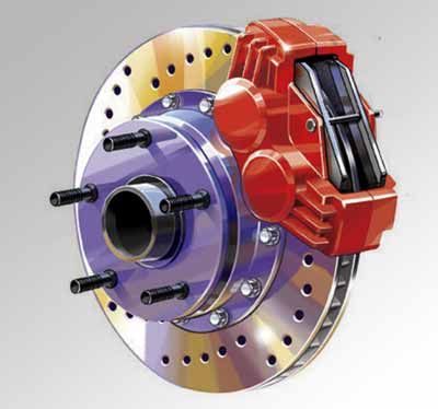 Technical illustration of a generic automobile disc brake assembly for use on a text book cover.