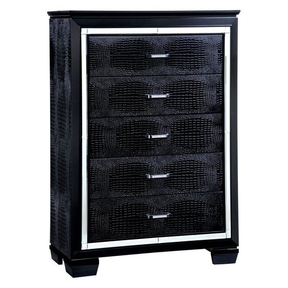 Furniture of America Dundee 5 Drawer Chest Black - IDF-7979BK-C