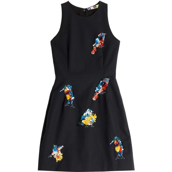 MSGM Embellished Cotton Dress ($555) ❤ liked on Polyvore featuring dresses, vestido, black, beaded dress, sequin dress, black embellished dress, slimming black dress and cotton dress