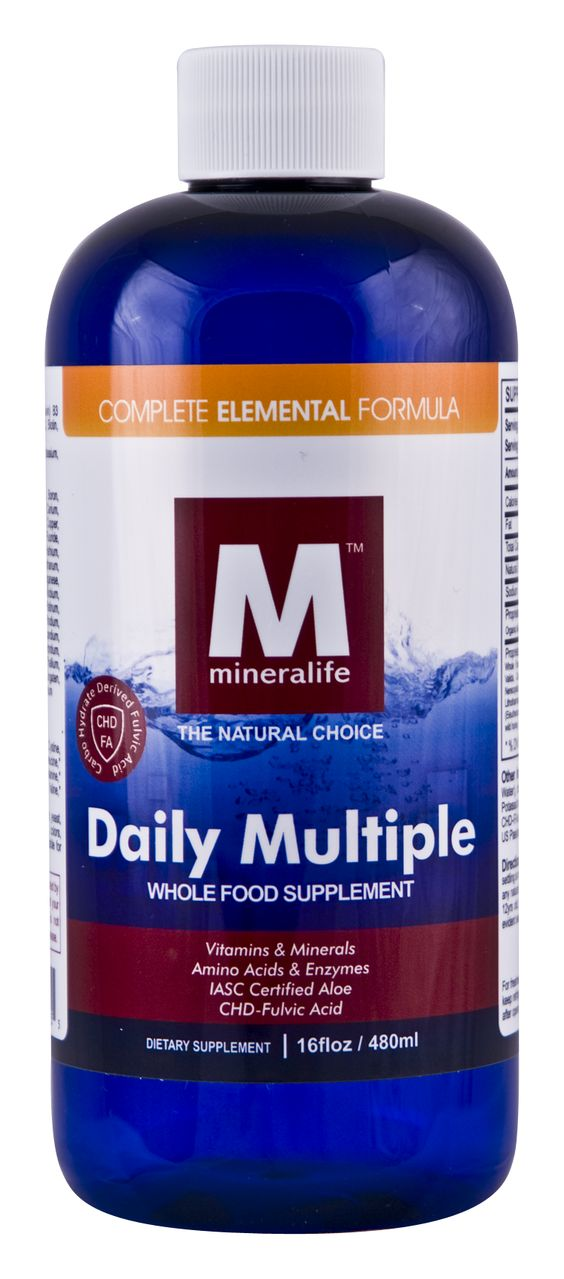 Mineralife's liquid Daily Multiple Supplement is an amazing blend of whole foods in a base of certified aloe vera juice, cherry juice and honey designed to provide your body with the vitamins, minerals, trace minerals, amino acids and enzymes it deserves! Patented, clinically tested professional grade CHD-Fulvic Acid has been added to further increase absorption and enhance overall well-being as fulvic acid has natural anti-viral, anti-bacterial, anti-inflammatory, and detoxification…