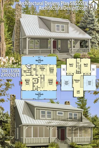 Plan 58555sv Big Rear And Front Porches Architectural Design House Plans Rustic House Plans Cottage Plan