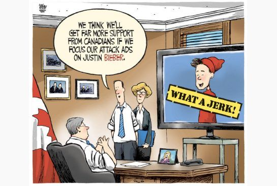 Toronto Star editorial cartoon for April 16, 2013, by Theo Moudakis. #Trudeau #Bieber #Justin #Canada