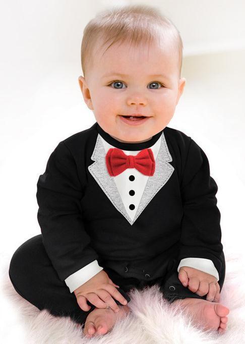 Barato Natal 2015 novo bebê roupa infantil exclusivo cavalheiro negro Romper…