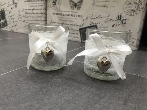 Verkaufe 7 Gläser mit Spitze und Herzchen. Super schön zur Deko auf einer Vintage Hochzeit.Stück 3,50€ alle zusammen 20€.