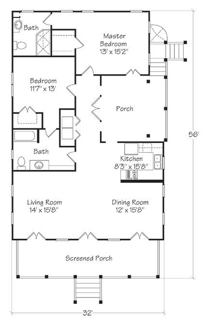 Unique Layout Make Porch Into Sunroom Make It Smaller So Will Make Kitchen Bigger 1300 Sq Ft Southern Living Small Cottage Plans Cottage Plan House Plans