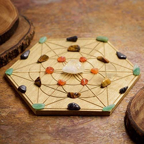 Howlite Black Onyx Panic and Anxiety Relief Mini Crystal Grid Set with 6 inch Sacred Geometry Grid Board and Green Calcite and Dumortierite