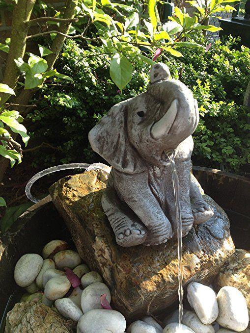 Wasserspeier Elefant Steinfigur Garten Deko Gartenfiguren