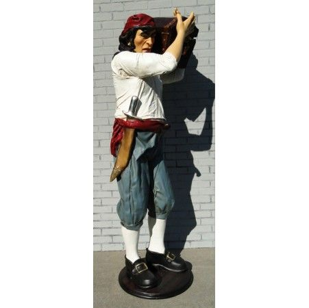 Old 6' Life Size Pirate Caribbean Statue w/ Treasure Chest Antique Old Sculpture Nautical