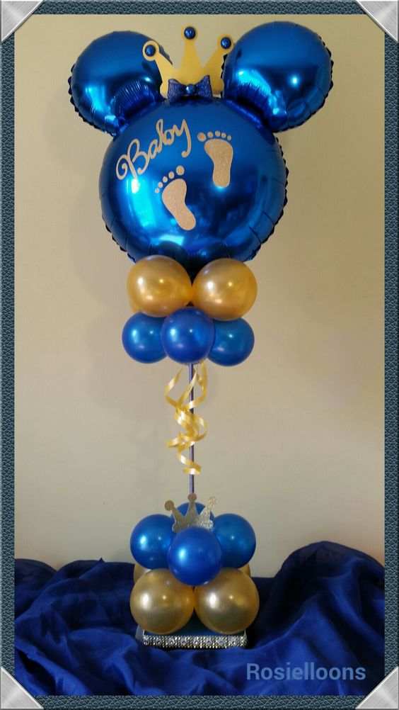 Royal baby shower balloon topiary. Your little one will be the king of the party!