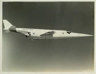 Douglas X-3 Stiletto (1953); researching features needed to sustain supersonic speeds for NACA, Air Force and Navy. Unlike X-1 and X-2, X-3 was capable of ground take-off as opposed to being dropped from a mother plane.