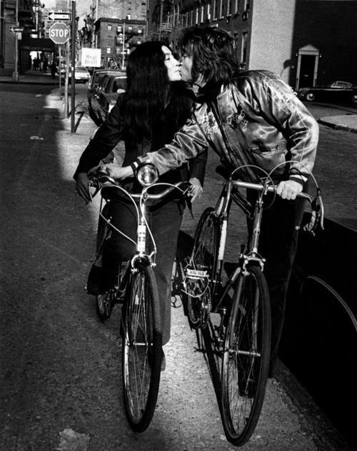 John Lennon and Yoko Ono. Celebrity Couples Enjoy the Freedom of Biking Together