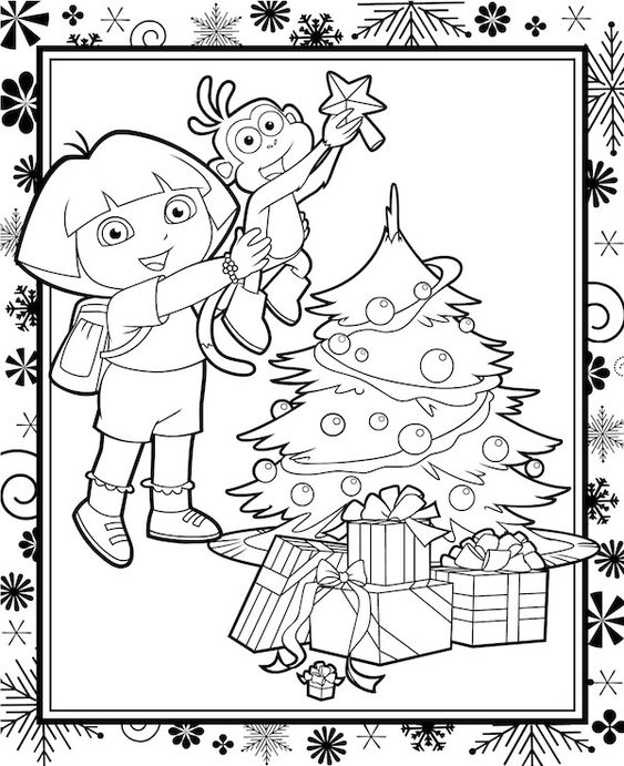 Free #Christmas Coloring Pages - Dora the Explorer and ...