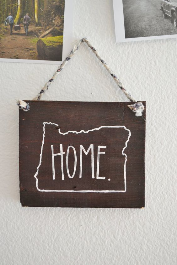 Oregon Home Rustic Wood Sign Home Decor Hand Painted