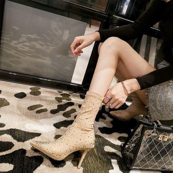 Moda Khaki Zuzycie Ulicy Zima Skorzany Buty Damskie 2020 Rhinestone 9 Cm Szpilki Szpiczaste Boots Pointed Toe Boots Womens Boots Stiletto Heels