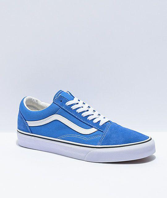 Vans Old Skool Nebula Blue & White Skate Shoes   Zumiez in 2021 ...