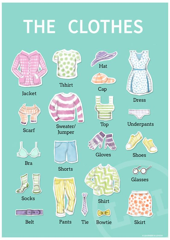 elbiseler #efl #tesol #clothes #teaching #education #vocabulary #classroom #english #poster #etsy #illustration #esl