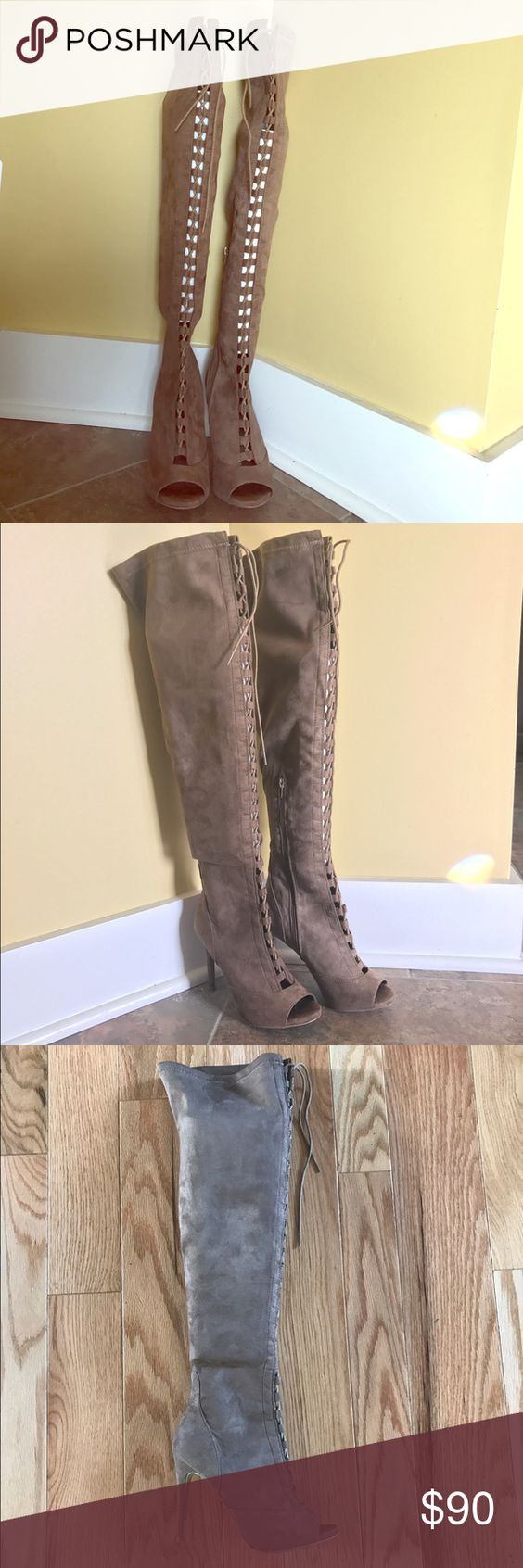 """Thigh High Boots Faux suede, 4"""" heel, approximately 20"""" shaft, NEVER WORN Shoes Over the Knee Boots"""