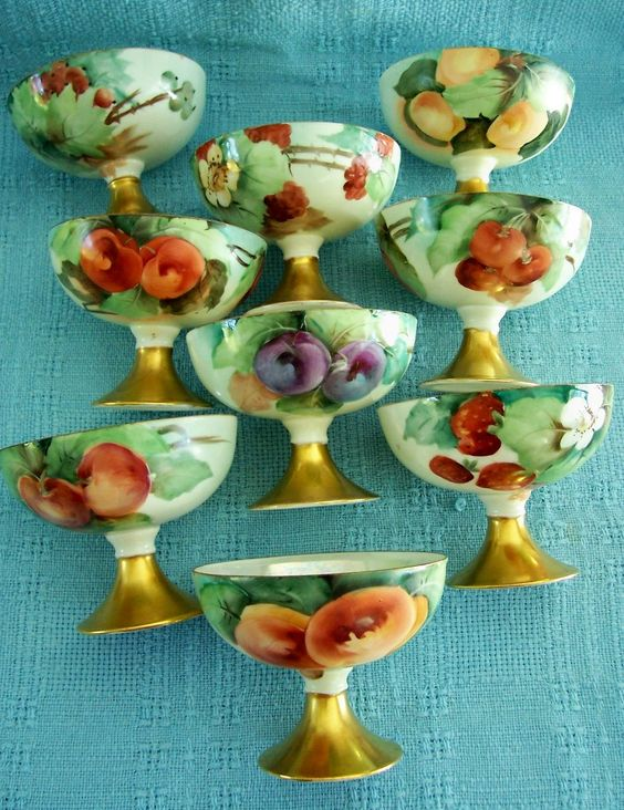 So, so beautiful and lush. Royal Austria Porcelain Punch Cups Hand Painted Fruits Circa 1900