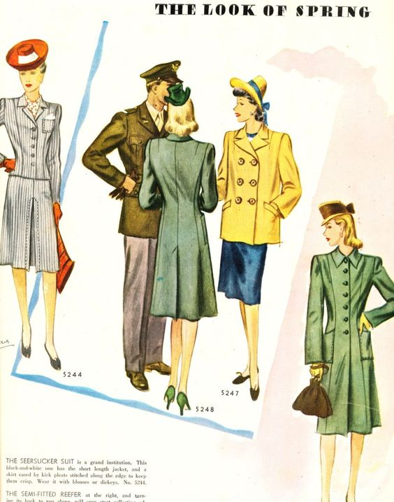 The Look Of Spring - Box Coat And Reefer - 1943 McCalls Magazine