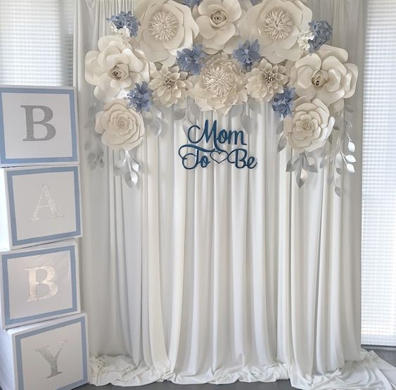 Handmade Suzie Crafts Diy Projects Recipes Baby Shower Flowers Boy Baby Shower Themes Baby Shower Backdrop