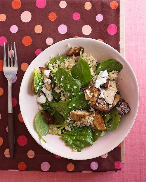 warm spinach, quinoa, mushroom salad...sub goat cheese for feta