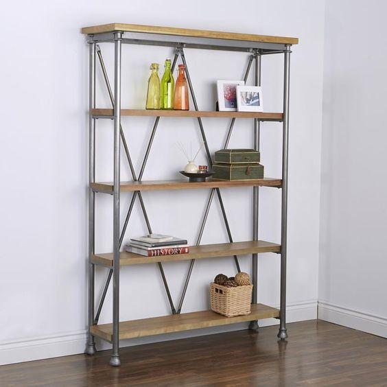 "Ksp Chicago Rustic Shelf Unit Iron+wood 55 X 15.75 X 79"" H Grey/Natural | Kitchen Stuff Plus"