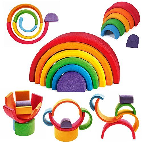 """Grimm's Large 6-Piece Rainbow Stacker - Nesting Wooden Waldorf Blocks, """"Elements"""" of Nature: AIR Grimm's Spiel and Holz Design http://www.amazon.com/dp/B0012J7WKE/ref=cm_sw_r_pi_dp_Ro9Fub04NDHPM"""