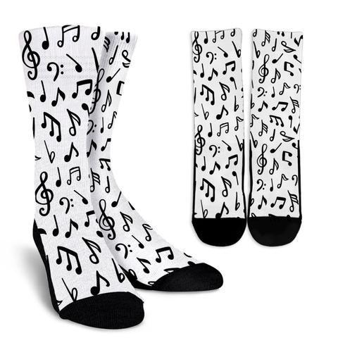 Music Notes Crew Socks Cool Socks For Men Crazy Socks For Men