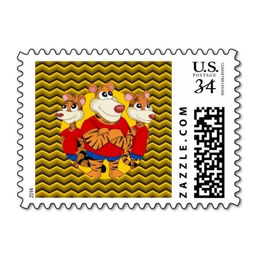 Tigers cartoon postage stamp