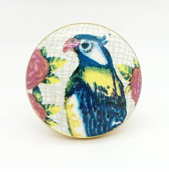 Parrot Ceramic Cupboard Drawer Handle Door Pull Knob