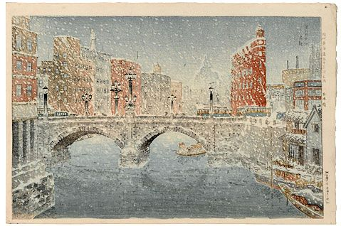 Bannai Kokan (b. 1900) Fifty-Three Modern Views of the Tokaido: Nihonbashi Bridge in the Snow