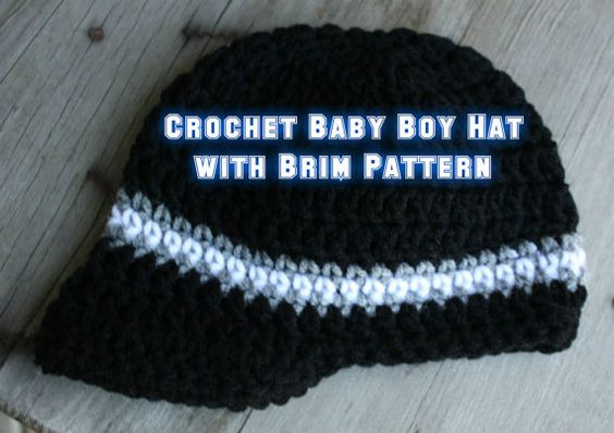 Crochet Baby Boy Hat with Brim PATTERN by MalindasDesigns on Etsy