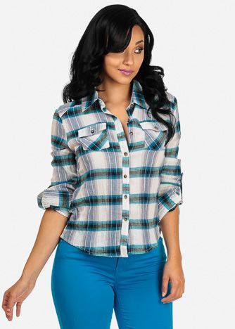 Cotton Plaid Button Down Shirt