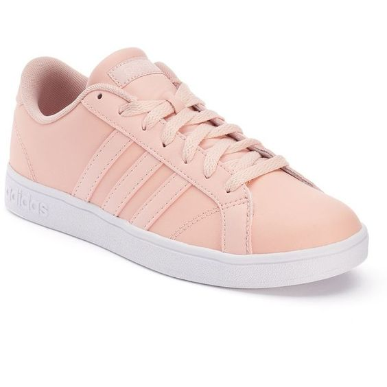 Adidas Baseline Women's Leather Sneakers ($60) ❤ liked on Polyvore featuring shoes, sneakers, adidas, light pink, leather trainers, striped sneakers, adidas trainers, fleece-lined shoes and light pink sneakers