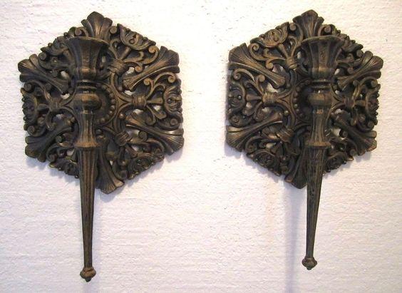 VTG Dart Wall Sconce Filigree Medallion Ornate Candle Holder Gothic Regency Pair