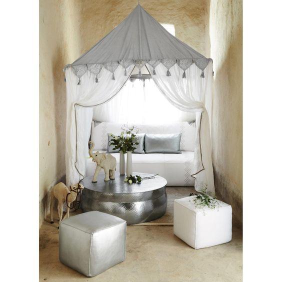 banquette 2 3 places fixe cuir blanc hammam maisons du monde oriental interior design. Black Bedroom Furniture Sets. Home Design Ideas
