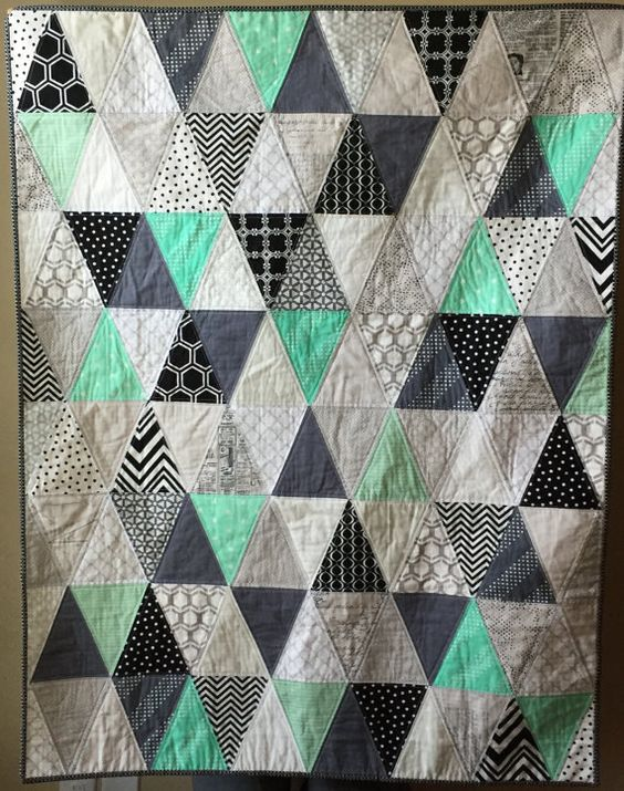 Gender Neutral Modern Baby Quilt with Mint, Aqua, Gray, Black, White Triangles