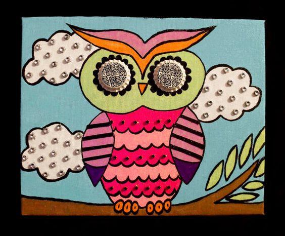 8x10 Vintage Bottle Cap Owl Mixed Media Canvas Art by TheRocksStar, $18.00