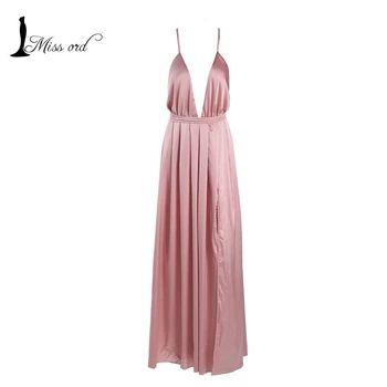 Free Shipping Missord 2016 Sexy deep V halter sleeveless Split dress FT2462