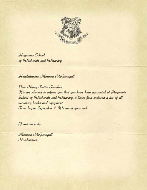 Harry Potter'S Acceptance Letter To Hogwarts. Still Waiting For