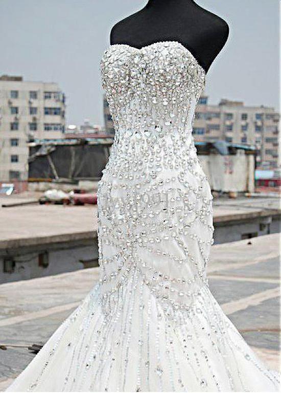 Wedding Dresses Ball Gown Sparkling Tulle Satin Sweetheart Neckline Mermaid Wedding Dresses With Beadings Rhinestones Bridal Gowns Mermaid Bling Wedding Dress Crystal Wedding Dresses