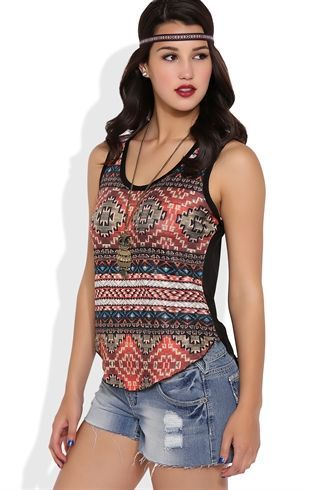 Deb Shops Tribal Print Tank with Sheer Lace Back $15.75