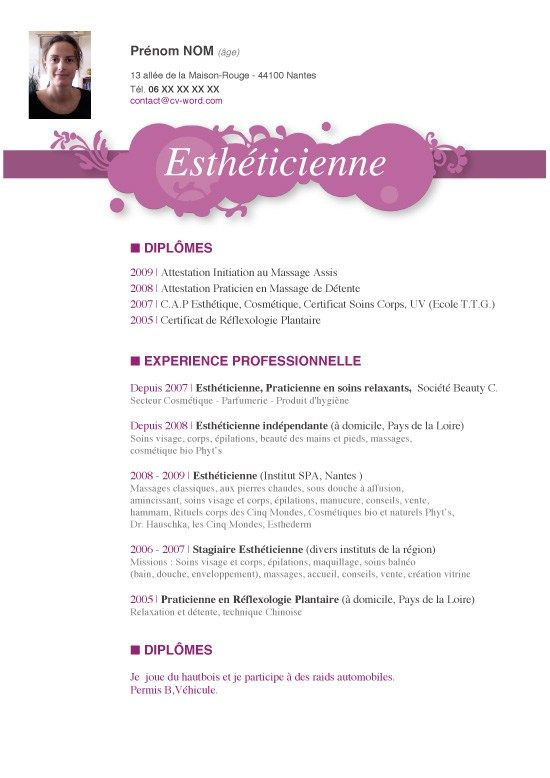 Modele Exemple Cv Original Estheticienne Iv Jpg Modele Cv Modeles De Lettres Exemple Cv