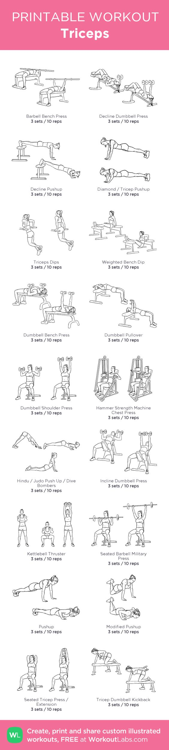 Triceps:my custom printable workout by @WorkoutLabs #workoutlabs #customworkout