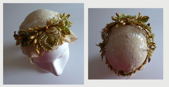 Antique wax flowers headdress. French 1880s. by GiardinoDiNinfa