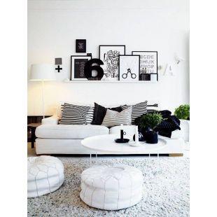 Pouf design - Pouf marocain en cuir Blanc